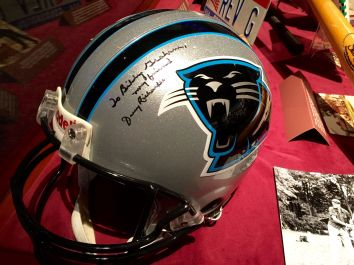 Signed helmet from Panthers owner to Billy Graham on display at the library in Charlotte